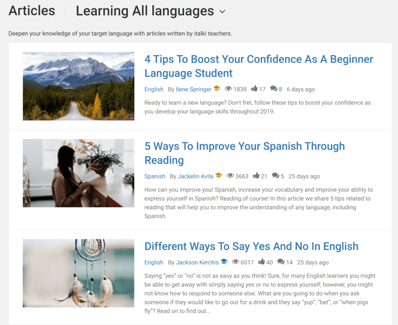 Some example article excerpts: 4 Tips to Boost Your Confidence as a Beginner Language Student, 5 Ways to Improve Your Spanish Through Reading and Different Ways to Say Yes and No In English