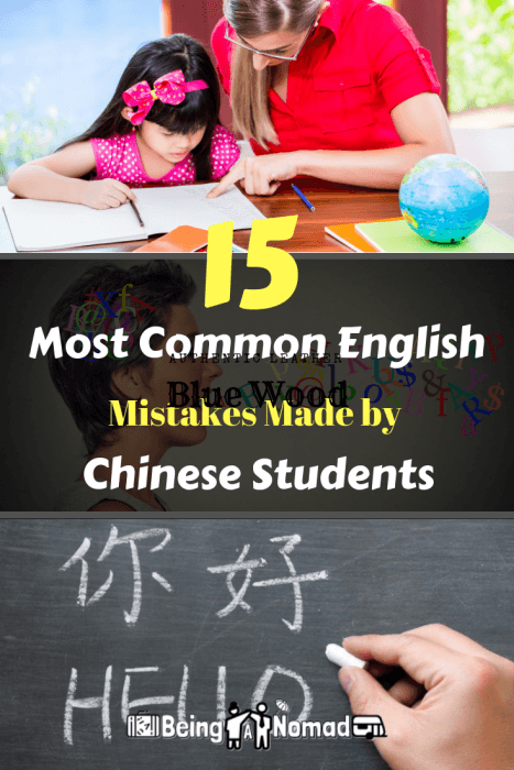 This post will teach you the 15 most common English mistakes made by Chinese students and how to correct them. Useful if you're an ESL/EFL teacher in China. #eslteacher #teachingenglish #teachenglishchina #teflchina