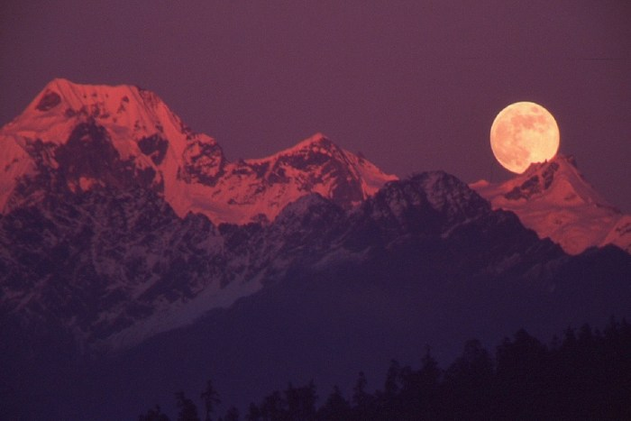 Full moon over the Himalayas