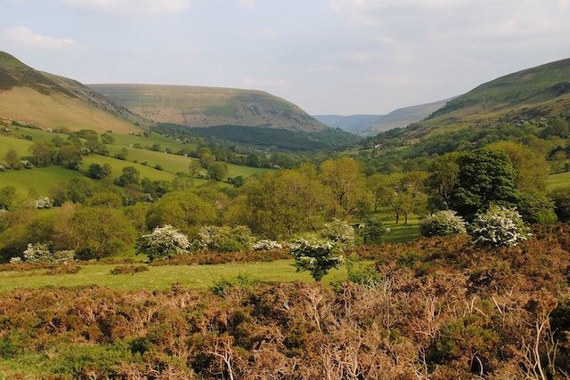 View down Llanthony Valley from Gospel Pass, in the Black Mountains