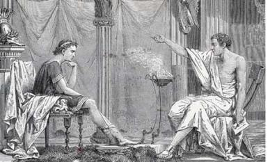 Illustration of Aristotle teaching a young Alexander the Great