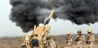 Artillery being fired during the War in Yemen. Source: BBC.com