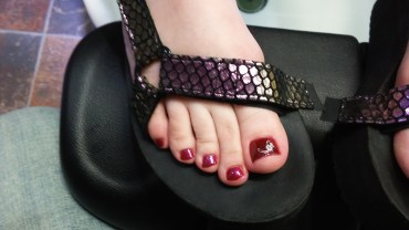 Gel pedicure. Red with white nail art. By: MarTika