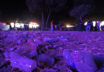 End of the night, the floor is literally a sea of plastic...