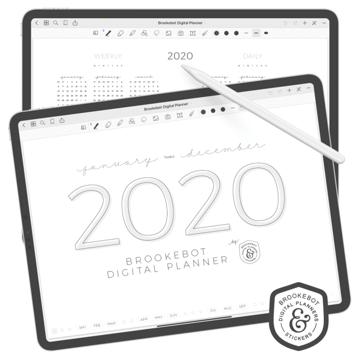 First page of Brookebot's digital planner opened in GoodNotes on the iPad pro