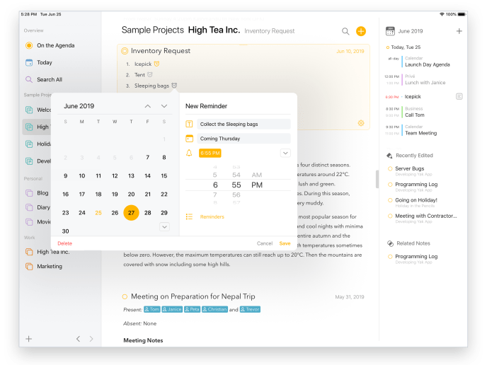 Screenshot showing how to create a reminder in Agenda.