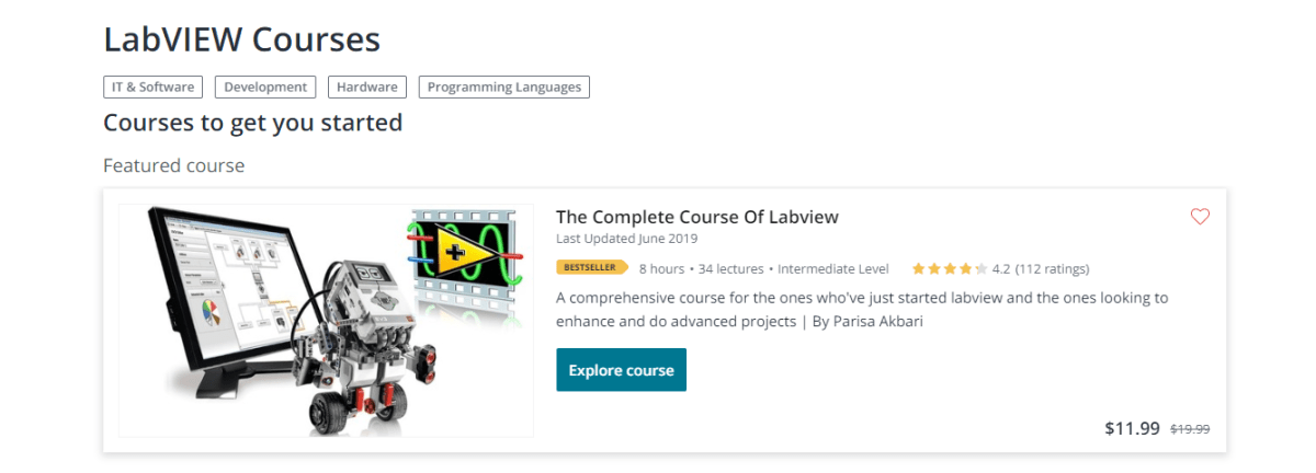 LabVIEW courses on Udemy