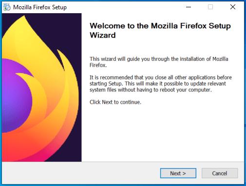 Mozilla Firefox setup wizard
