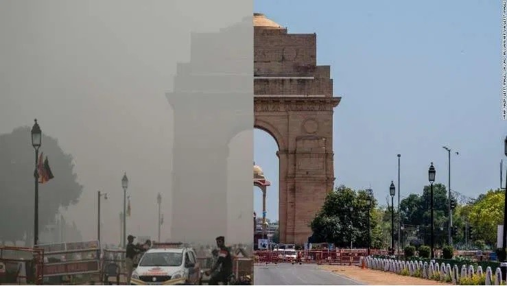 delhi air pollution before after