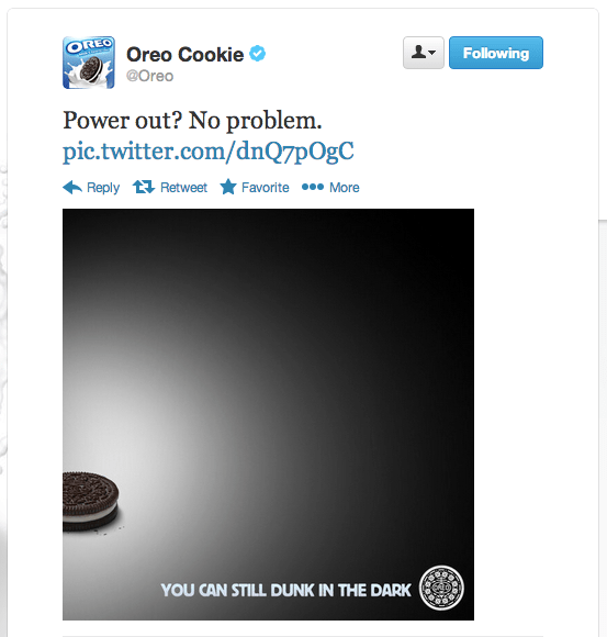 Oreo Super Bowl Black Out Tweet