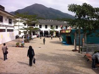 Disney-esque village at the base