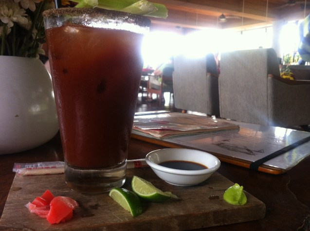 Outstanding Bloody Mary with additional condiments to season to your taste