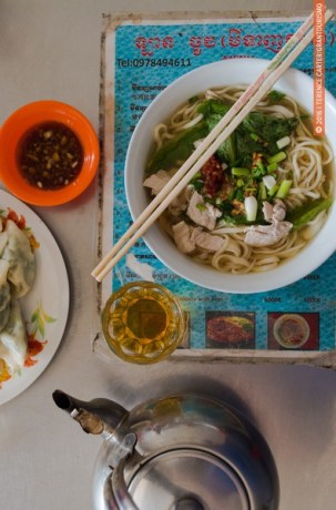 Fresh noodle soup, dumplings and tea in Battambang.