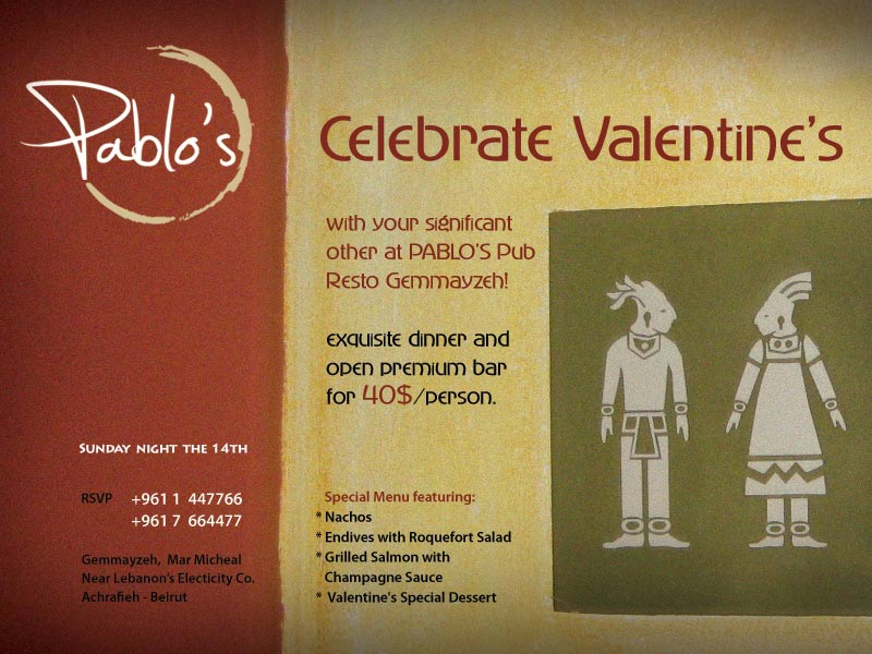 Celebrate Valentine's at PABLO'S Pub Resto Gemmayzeh