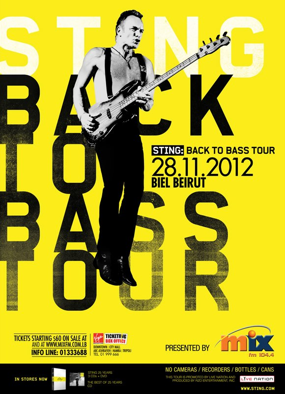 Sting Back To Bass Tour 2012 Beirut