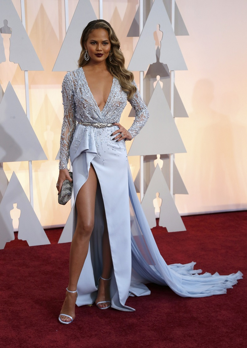Model Chrissy Teigen arrives at the 87th Academy Awards in Hollywood