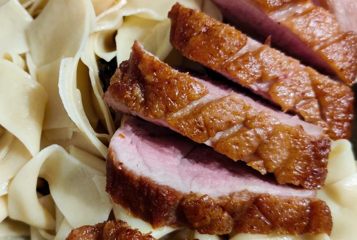 A close up shot of sliced duck breast with crispy skin on top of fresh homemade pappardelle pasta in a brown ceramic bowl.