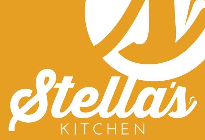 The Stella's Kitchen logo of white text on an orange background