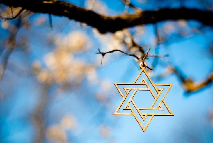 A Star of David hanging off a tree branch with a blue sky in the background.