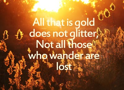 #glitter #kitsch All that is gold does not glitter,  Not all those who wander are lost;  The old that is strong does not wither,  Deep roots are not reached by the frost.