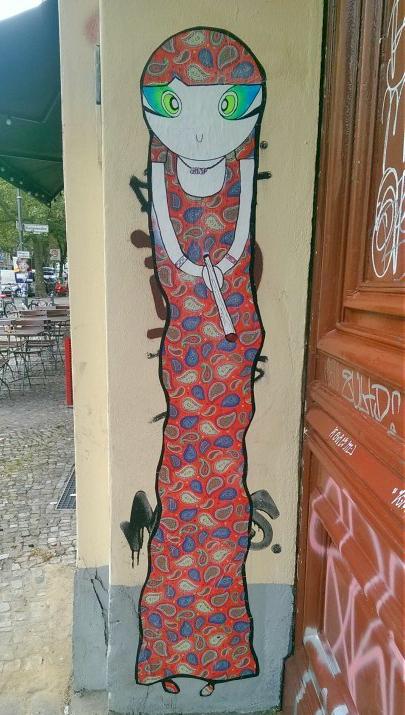 Lady in Red Street Art Berlin Prenzlauer Berg
