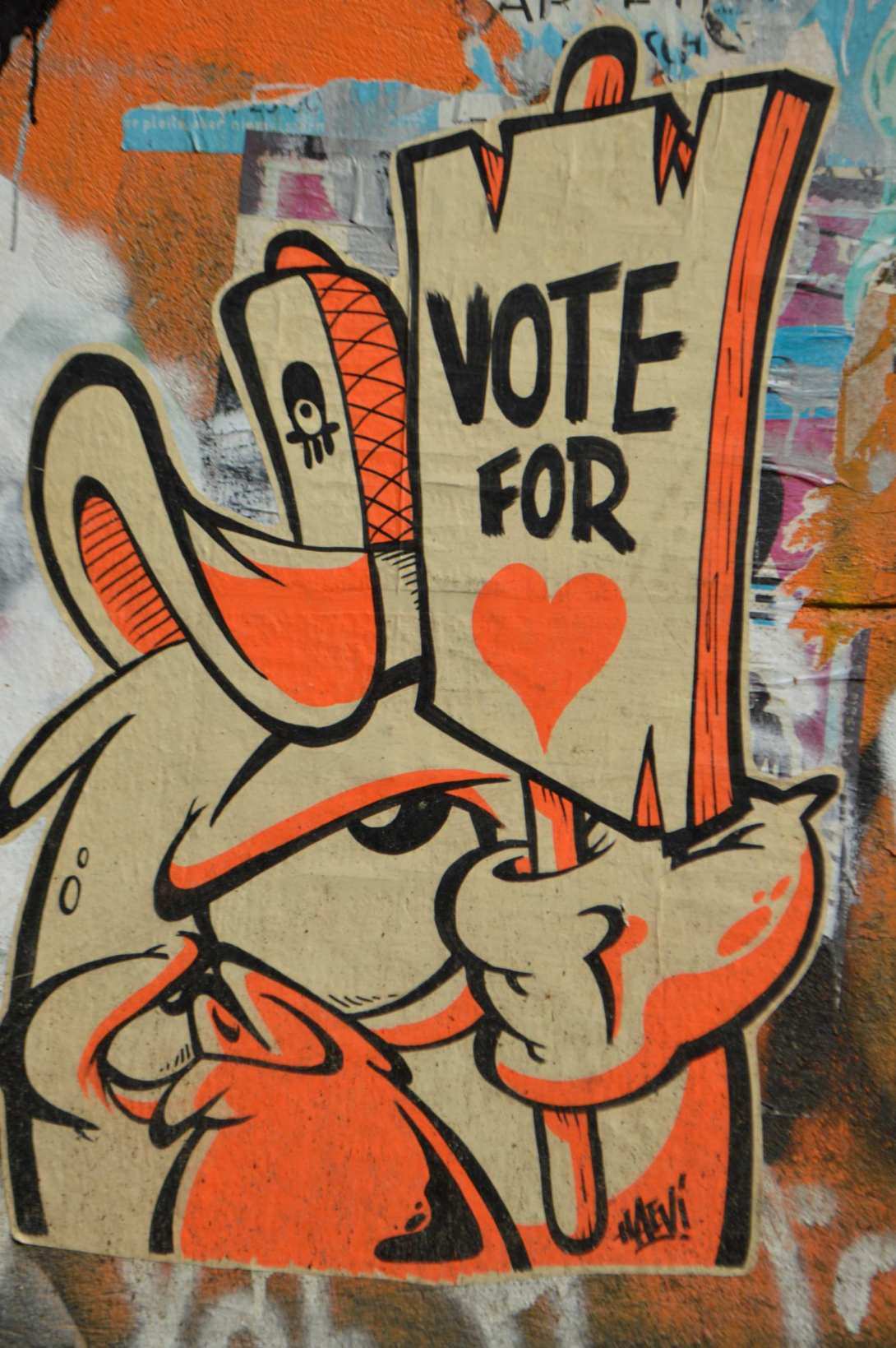 Vote for Love paste up