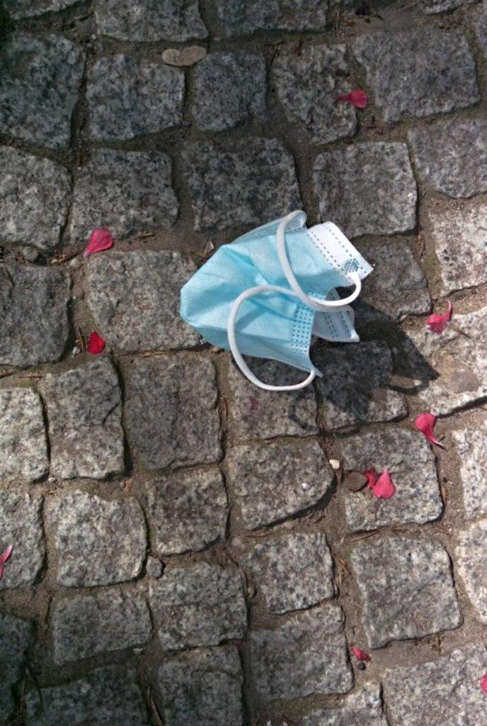 Face mask on the ground - medizinische  Maske auf dem Boden mit Blüten - be kitschig blog Berlin