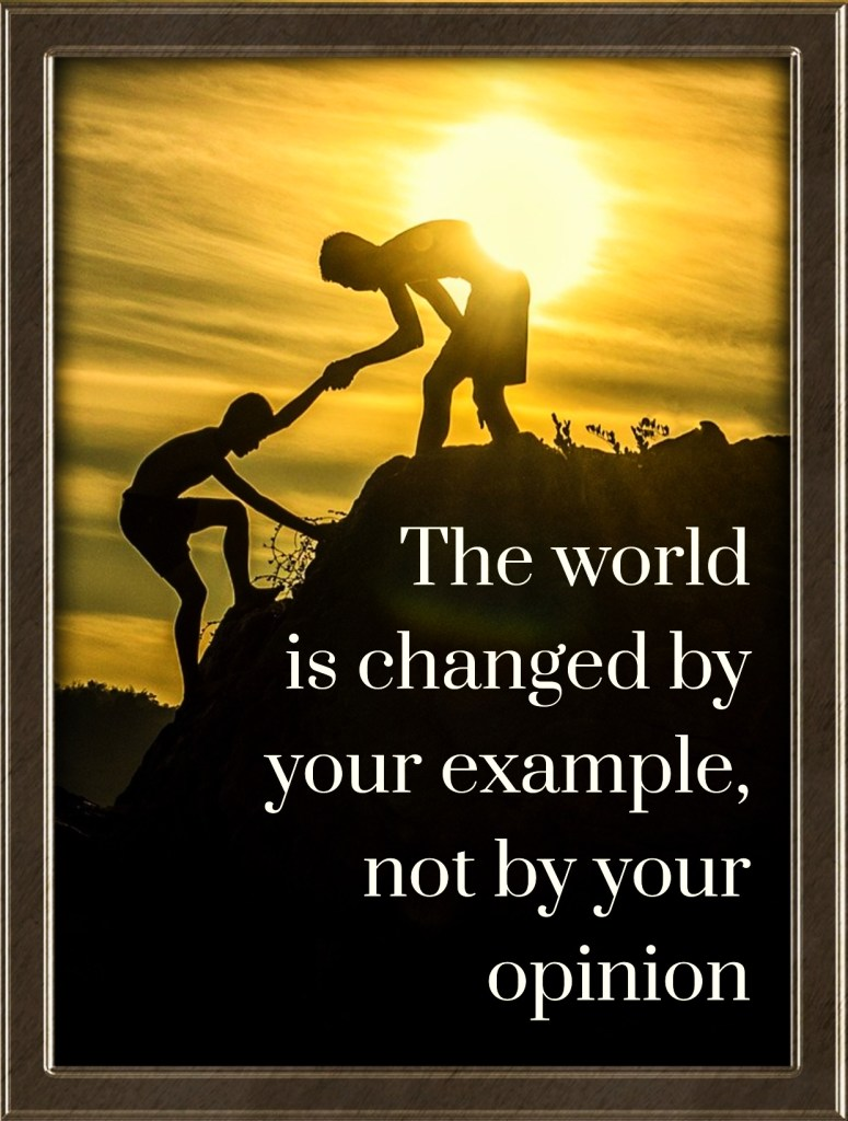 Paulo Coelho Quote  The World is changed by your example not by your opinion  bekitschig.blog