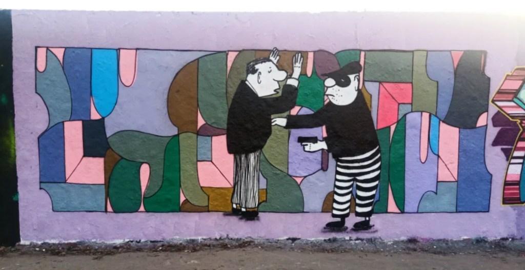 Strassenkunst be kitschig blog - Loriot Kunst Mauerpark - Ich bin 3 Öltanks