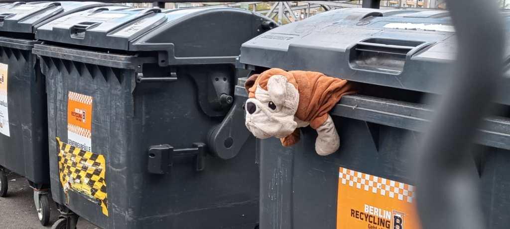 be kitschig blog Berlin  - Stofftier Hund in der Mülltonne BSR stuffed toy dog on garbage bin