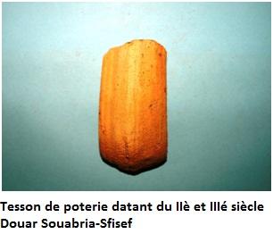 Tesson de poterie datant du IIè et IIIé siècle-Douar Souabria-Sfisef