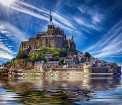 The magnificent medieval citadel of Mont Saint-Michel, Normandy, France.