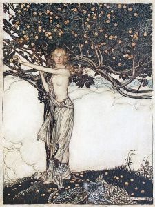 Freia, the fair one (1910), lithograph by Arthur Rackham (1867-1939) [published in The Rhinegold ...