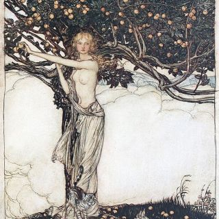 Freia, the fair one (1910), lithograph by Arthur Rackham (1867-1939) [published in The Rhinegold & The Valkyrie, facing page 22], from Scene 2 of Das Rheingold (1854), by Richard Wagner (1813-1883).