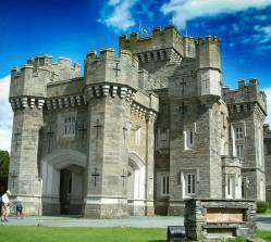 The Victorian neo-gothic Wray Castle set in the beautiful countryside of the Eng