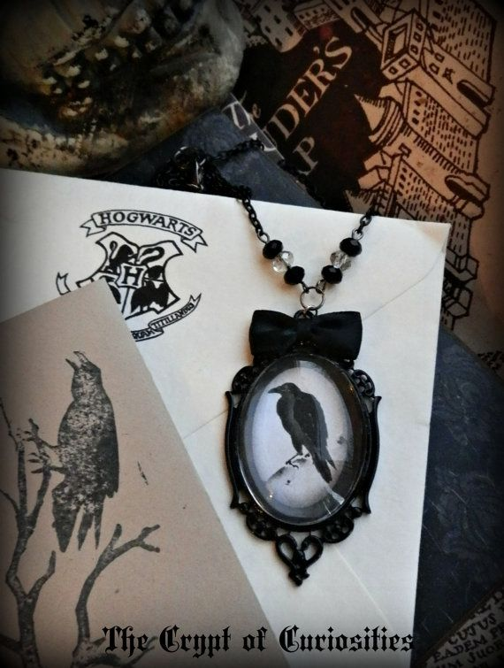 Gothic Antique look raven glass cameo necklace