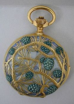 This charming pine tree-themed 1900 Lalique watch case if made of gold and teal-colored enamel.  ...
