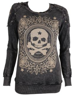Style Addiction – Vocal Studded Skull Black Long Sleeve Shirt – 10052L, $49.99 (www. ...