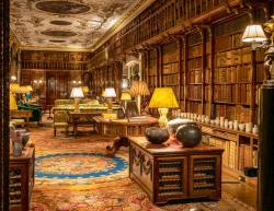 The beautiful library inside Chatsworth House, a stately home in Derbyshire, Eng