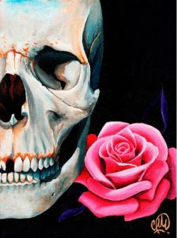 Rose Skull Canvas by Christina Ramos