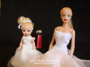 Replica Flower Girl Dress Ivory In Miniature