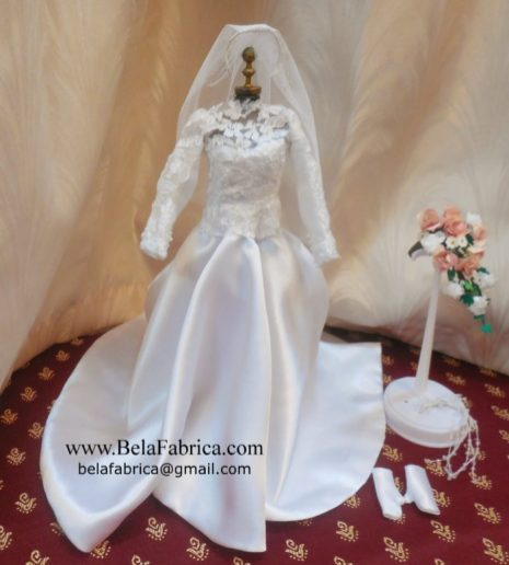 Vintage Lace and Satin Wedding Dress Miniature Replica along with Veil, HeadDress, Gloves and a Floral Bouquet by BELAFABRICA