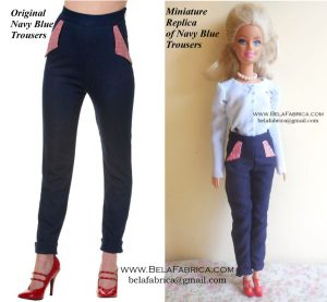 Comparison of Miniature Replica Pant with original- costume for fashion dolls BY BELAFABRICA