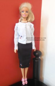 Miniature Blue Blouse and Black Skirt for fashion dolls BY BELAFABRICA