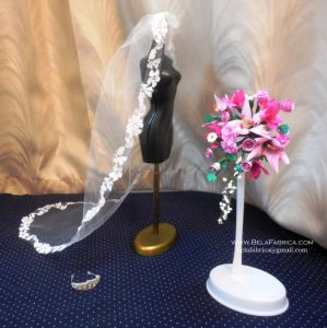 Miniature Bridal Bouquet and Veil and Tiara by BELAFABRICA
