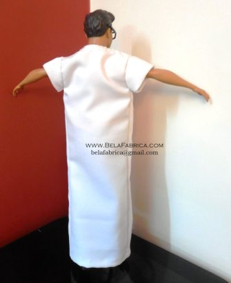 Miniature Doll Outfit Moroccan White Gandora Male Algerian outfit Back View BY BELAFABRICA