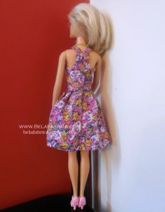 Miniature Floral Short Dress for Barbie Doll Back View