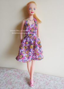 Miniature Floral Short purple Dress for Barbie Doll