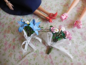 Miniature Flower Bridesmaid Bouquets Pink Blue and Lavender