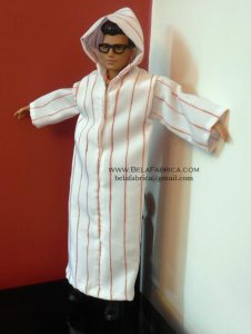 Miniature Male outfit Brown Striped Djellaba For Ken Doll or Barbie BY BELAFABRICA